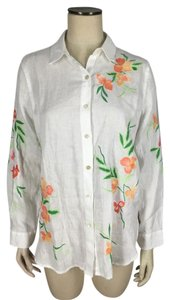J. Jill 100% Linen Embroidered Button Down Shirt White