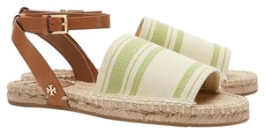 Tory Burch Awning Stripe Olive/Ivory Sandals