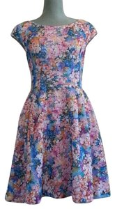 Betsey Johnson short dress Pink and Blue Floral Fit N Flare on Tradesy