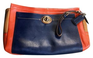 Coach Color-blocking Leather Wristlet in Navy