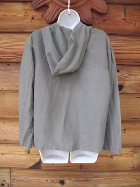 Chico's Silk Linen Long Sleeve Hooded Button Front Lightweight Machine Washable Brown Jacket Image 2