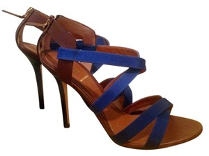 Fendi Leather Strappy Made In Italy Brown Calfskin with blue fabric Sandals