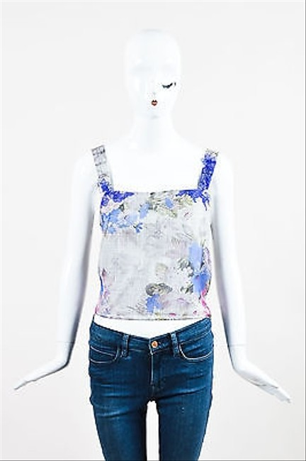 Kay Unger Gray Multicolor Sheer Silk Lace Applique Floral Print Sl Crop Top low-cost