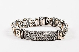 David Yurman David Yurman Sterling Silver Pave Diamond Madison Cable Id Bracelet