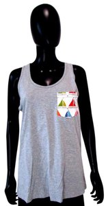 American Apparel Sleeveless Bro Graphic Top Gray