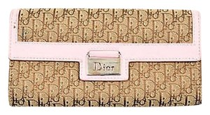 Dior Christian Dior Brown Tan Pink Diorissimo Monogram Canvas Leather Flap Wallet
