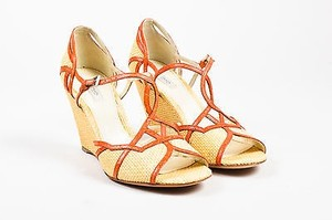 Prada Tan Raffia Croc Orange Sandals