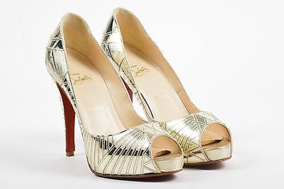 e7c394153f88 Christian Louboutin Gold Leather Mirrored Very Galaxy Pumps 40.5 ...