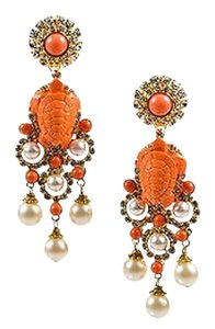 Other Lawrence Vrba Gold Tone Coral Turtle Crystal Accent Chandelier Clip On Earrings