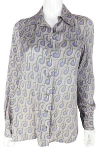 Marc Jacobs Notes Silk Button Down Snap Top Purple