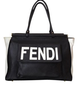 Fendi Vintage Leather Monogram Tote in Black and White