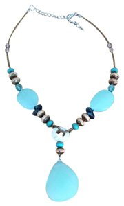 Cute Blue And Brown Statement Necklace