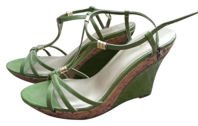 Item - Green Strappy Sandals High Spring Wedding Color Block Wedges Size US 9