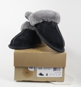 UGG Australia Slippers Fur Lined In Box New 8 Made In Vietnam Black and Grey Mules