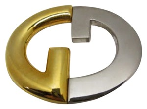 Gucci GUCCI two-tone gold/silver GG logo BELT BUCKLE