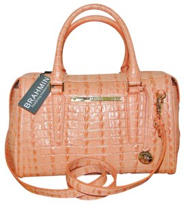 Brahmin Leather La Scala Lined Satchel in Mai Tai