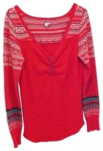 Free People We Inspired Henley Nordic Henley L 10 12 14 Long Sleeve Cotton Blend Knit Shirt Artsy Figure Flattering Luxe Sweater