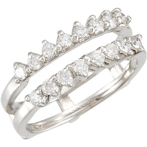 .50ct Diamond 10k White Gold Bridal Guard Band Ring