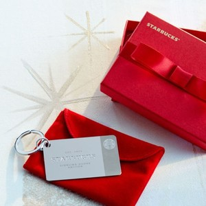 Starbucks 2014 Limited-edition Sterling Silver Keychain with Credit Loaded On The Gift Card