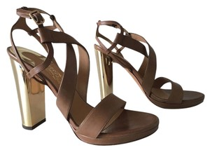Salvatore Ferragamo Brown & Gold Platforms