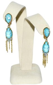 Alexis Bittar New ALEXIS BITTAR Crystal Gold Fringe Dangler Earrings Turquoise Clip