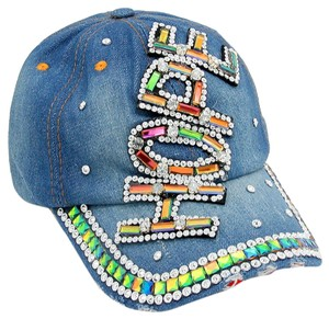 Rhinestone Crystal Studded Accent Rainbow of HOPE Baseball Cap