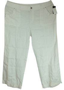 INC International Concepts Plus Size Fashions Linen Rhinestone Embellished Straight Pants White