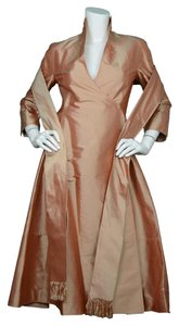 Chado Ralph Rucci Wrap Silk Peach V-neck Dress