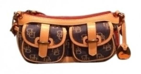 Preload https://item4.tradesy.com/images/dooney-and-bourke-banana-denim-with-tan-trim-leather-blue-beige-logo-pattern-satchel-18168-0-0.jpg?width=440&height=440