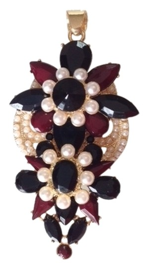 Preload https://img-static.tradesy.com/item/1816859/macy-s-gold-tone-faux-peral-red-and-black-rhinestones-floral-pendant-0-0-540-540.jpg