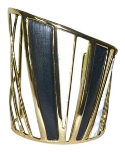 Alexis Bittar New Alexis Bittar Lucite LUNA Open Bangle Bracelet BLACK Howlite Gold