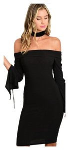 Other Lace Up Bodycon Bell Sleeve Bohemian Off Dress