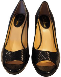 Cole Haan Peep Toe Platform Patent Leather Black Wedges