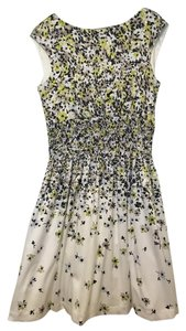 Jessica Simpson short dress White with navy, green, taupe flowers Summer Party Floral on Tradesy