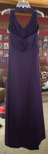 Alfred Angelo Eggplant Polyester Purple Gown Formal Bridesmaid/Mob Dress Size 8 (M)