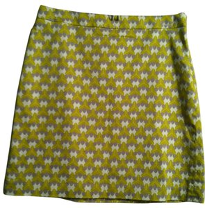Banana Republic Size 8 98% Cotton 2% Elastin Skirt Geo Print Yellow Gray White