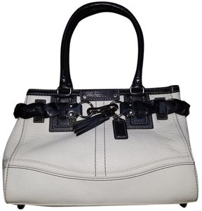 Coach Leather Satchel in Black And White