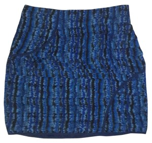Aqua Mini Skirt Blue and black pattern