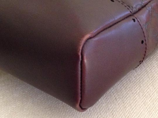 Gucci Guccisima Leather Executive Horse Bit Logo Signiture Print Lining Punch Tote in Chocolate Brown