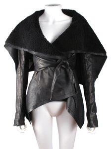Rick Owens Shearling Leather Wrap Black Jacket