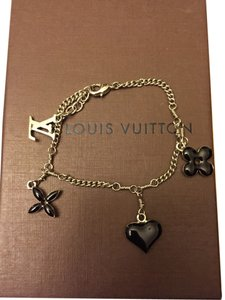 Louis Vuitton 100% Authentic Louis Vuitton Monogram Sweet Bracelet Black And Silver
