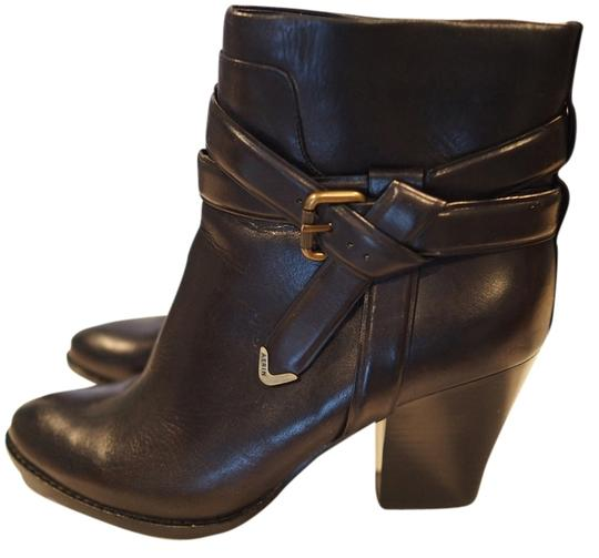 Aerin Moto Belted Gold Hardware Side Zip Black Boots