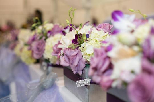 Gray and Purple Wooden Centerpiece
