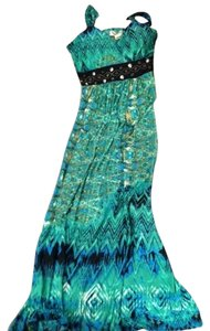 Green, blue, black Maxi Dress by Studio West