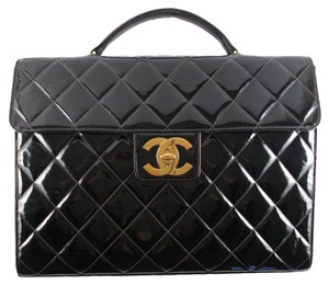 Chanel Briefcase Maxi Jumbo Turnlock Tote in Black