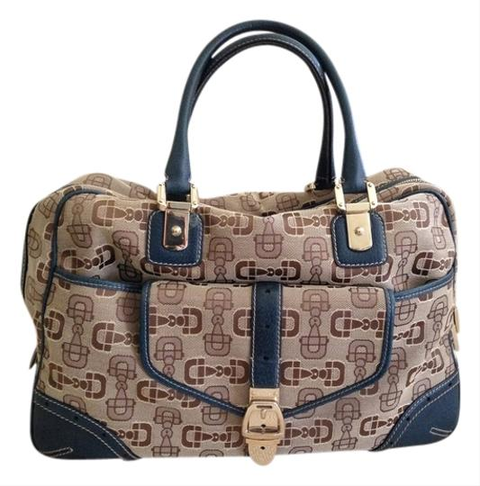 Gucci Canvas/Leather Combo Base Studs Horse Bit Large Ext. Pocket Blue/Tan Travel Bag