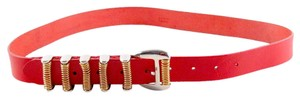 Balmain BELT - WOMENS LARGE - RED LEATHER GOLD SILVER COIL BUCKLE