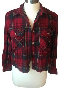 Forever 21 Button Down Shirt Red, black, yellow, plaid, flannel