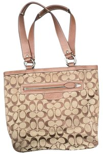 Coach Signature Monogram Tote in Khaki/Brown