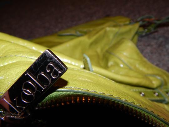 Kooba Unique Buckles Grommets Zippers Geometric Leather Tote in Green